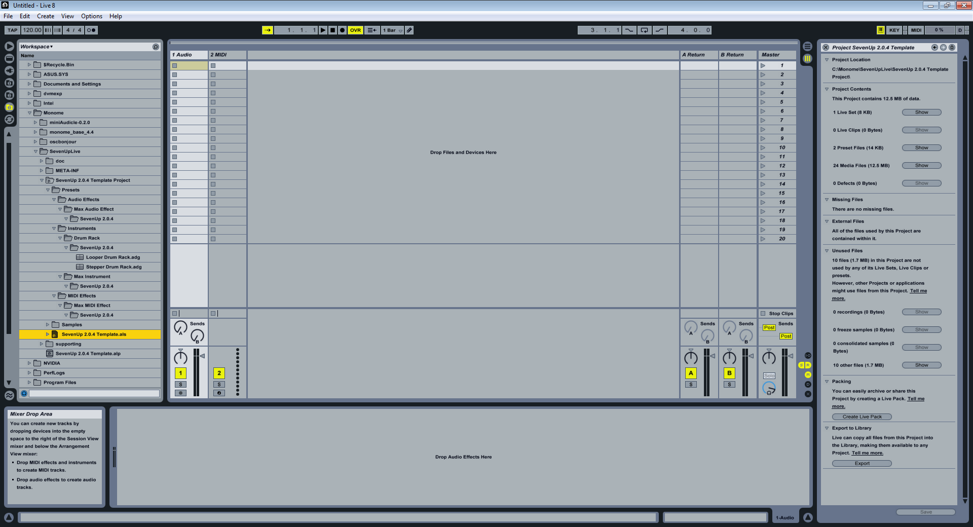 SevenUpLive seven up live not showing up in ableton monome